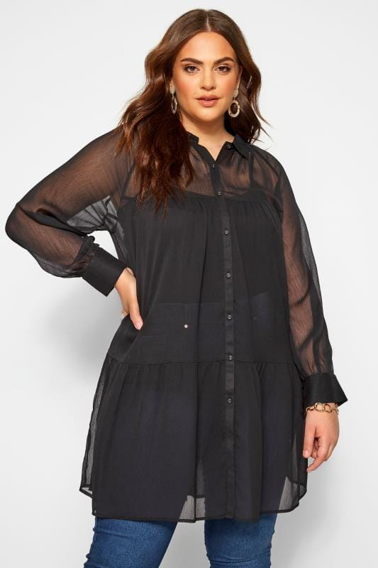 Plus-Größen Blouses Black Tiered Chiffon Blouse