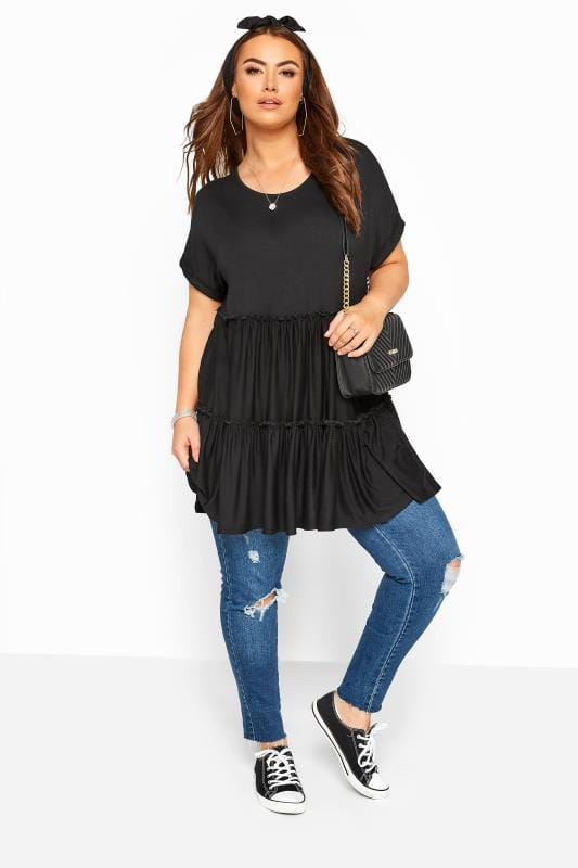 Black Tiered Peplum Smock Tunic