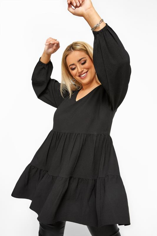 Plus Size Blouses Black Tiered Smock Blouse