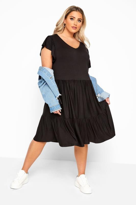 Black Tiered Smock Dress