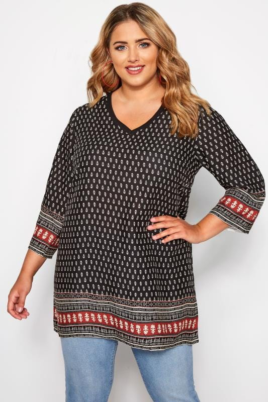 Plus Size Tunics Black Tile Print Ribbed Neck Tunic