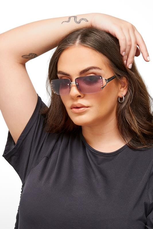 Plus Size Sunglasses Black Tinted Rimless Sunglasses