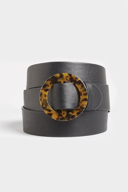 Black Tortoiseshell Faux Leather Belt