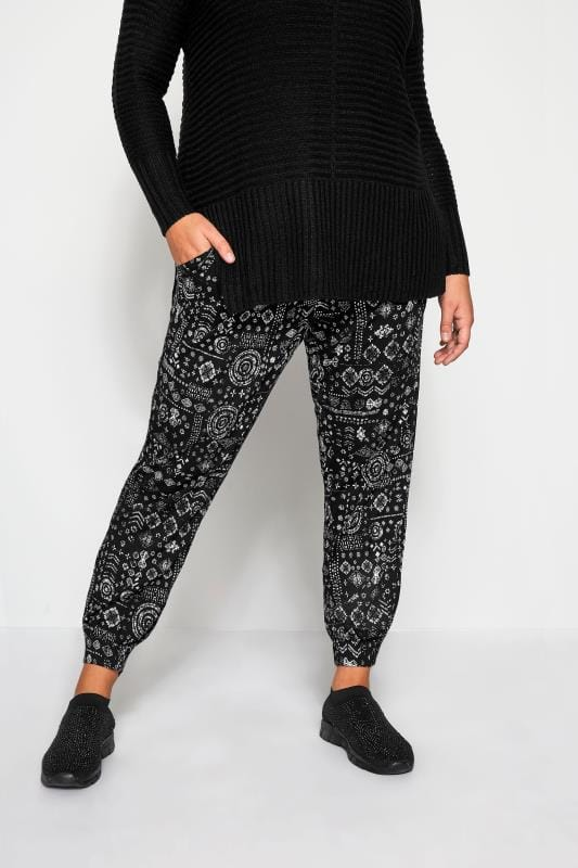 Plus Size Harem Pants Black Tribal Harem Trousers