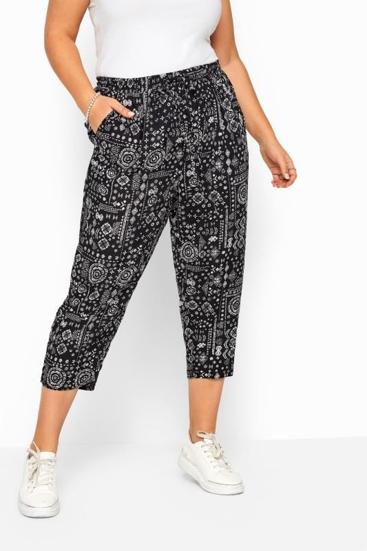 Black Tribal Patchwork Cropped Trousers