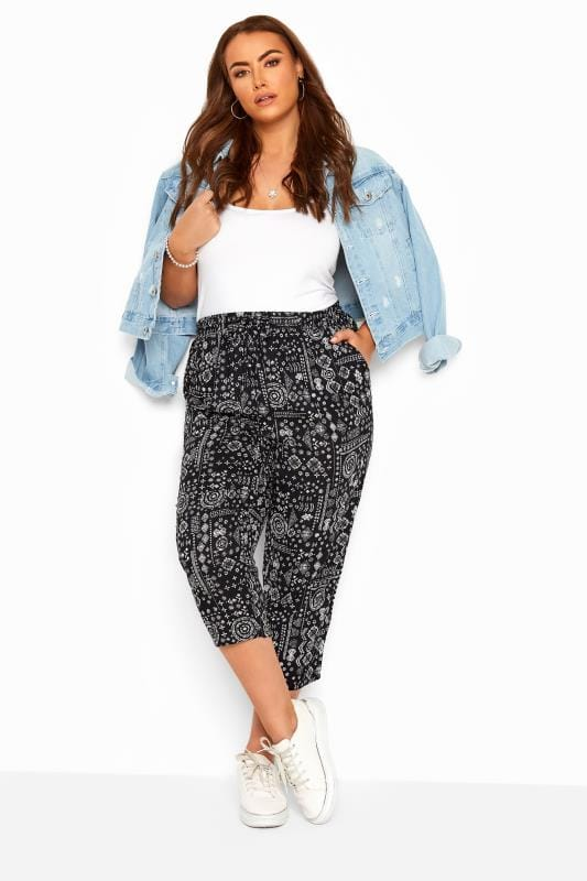 Plus Size Cropped Trousers Black Tribal Patchwork Cropped Trousers