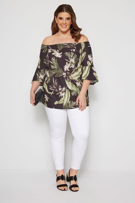 Black Tropical Bardot Top With Flute Sleeves