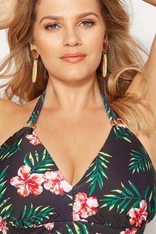 Black Tropical Bikini Top