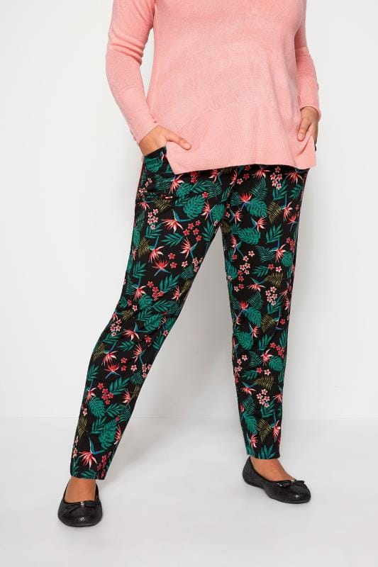 Black Tropical Harem Trousers