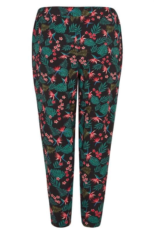 Black Tropical Harem Trousers