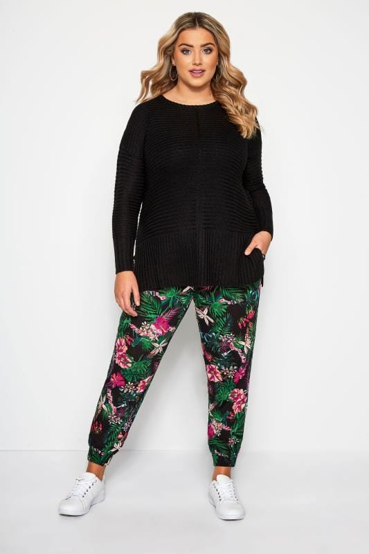 Plus Size Harem Pants Black Tropical Harem Trousers