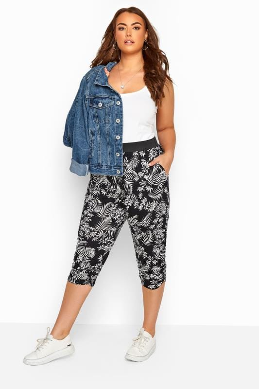 Großen Größen Stretch Cropped Trousers Black Tropical Leaf Cropped Harem Trousers