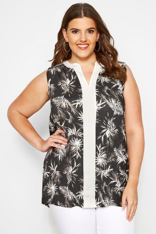 Plus Size Jersey Tops Black Tropical Pintuck Top