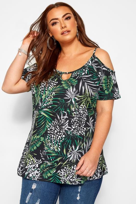 Plus Size Jersey Tops Black Tropical Print Strappy Cold Shoulder Top