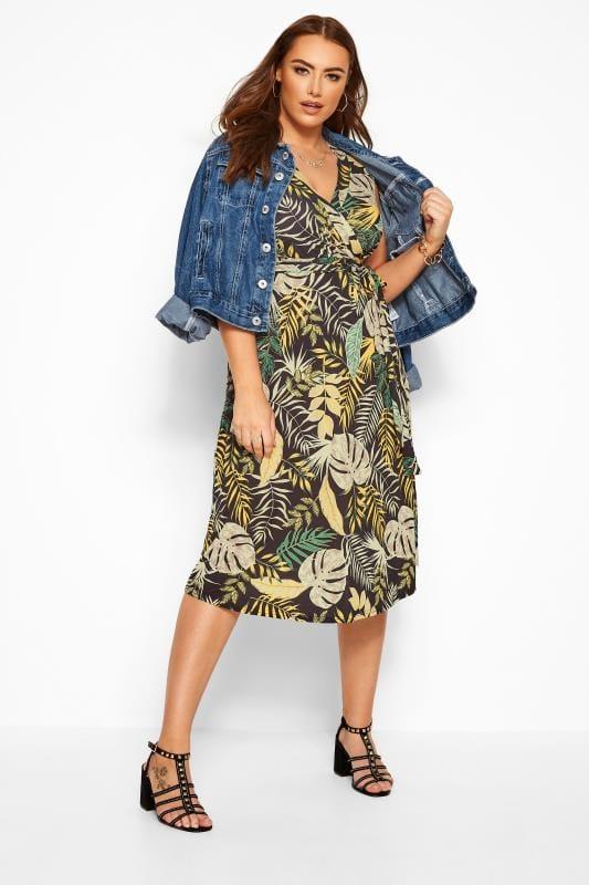 Plus Size Floral Dresses Black Tropical Wrap Midi Dress