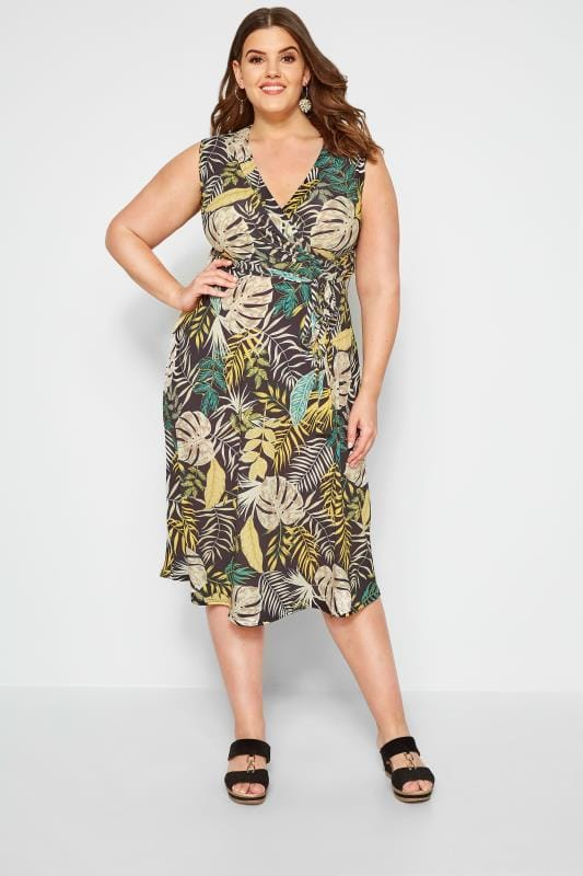 Black Tropical Wrap Midi Dress