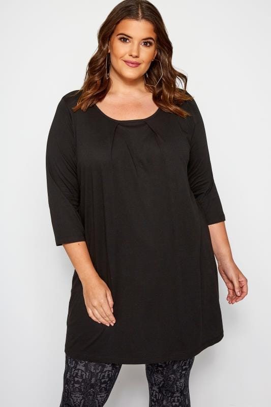 Plus Size Tunics Black Tunic With Pleated Front