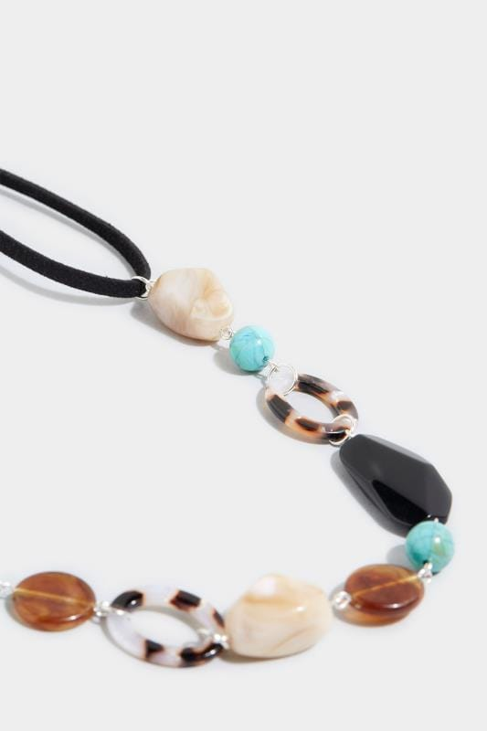 Black & Turquoise Stone Cord Necklace