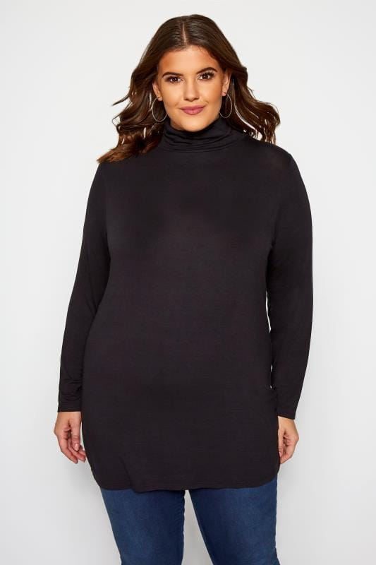 Plus Size Jersey Tops Black Turtle Neck Top