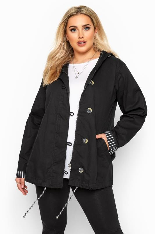 Plus Size Parka Coats Black Twill Parka Jacket