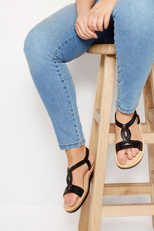 Black Twist Diamante Sandals In Extra Wide Fit
