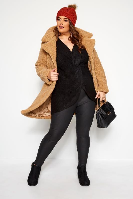Pullover mit Knotenfront - Schwarz