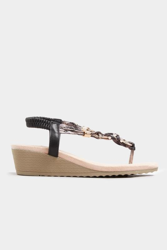 Black Twist Gold Tone Heeled Sandals In Extra Wide Fit