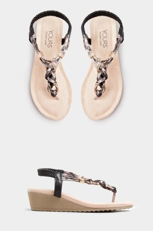 Black Twist Gold Tone Heeled Sandals In Extra Wide Fit_6065.jpg
