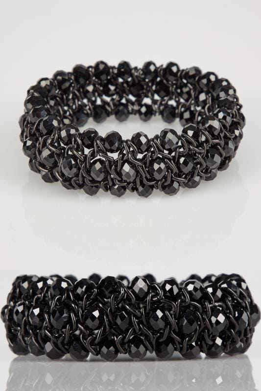 Black Twisted Bead Stretch Bracelet