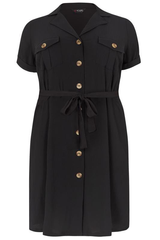 Black Utility Shirt Dress