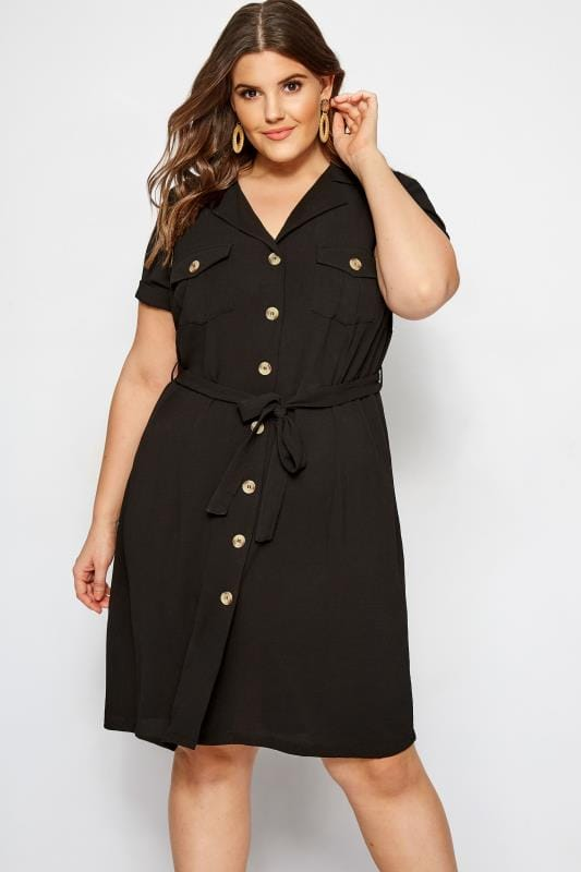 Plus Size Black Utility Shirt Dress | Sizes 16 to 36 | Yours ...