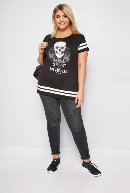 Black Varsity Skull Print T-Shirt