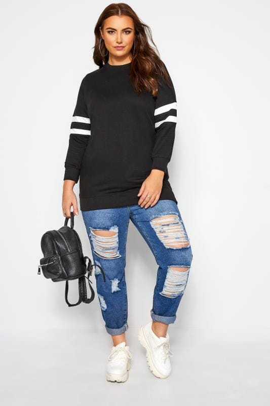 Plus Size Sweatshirts Black Varsity Stripe Sweatshirt