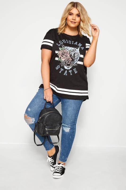 Plus Size Jersey Tops Black Varsity Tiger Slogan T-Shirt