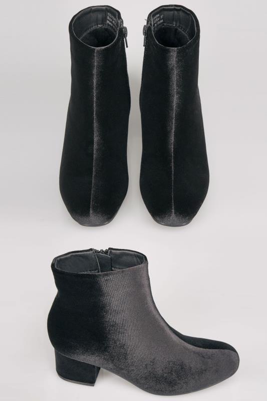 Black Velvet Boots With Block Heel In E Fit