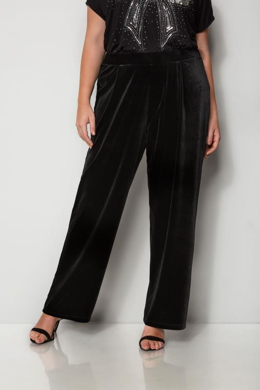 Plus Size Wide Leg & Palazzo Trousers Black Velour Wide Leg Trousers