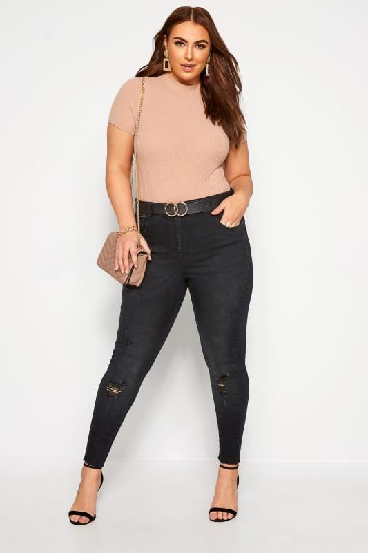 Plus Size Skinny Jeans Black Washed Skinny Stretch Ripped AVA Jeans