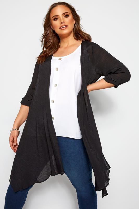Plus Size Kimonos Black Waterfall Cover Up