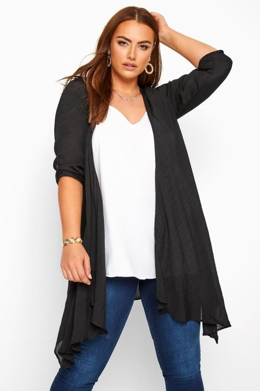 Kimonos dla puszystych Black Waterfall Cover Up