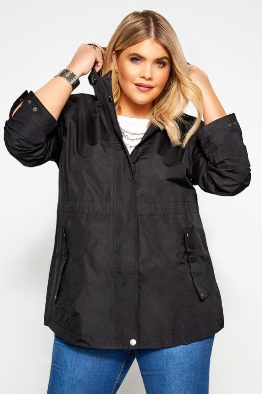 Plus Size Jackets Black Waterproof Jacket