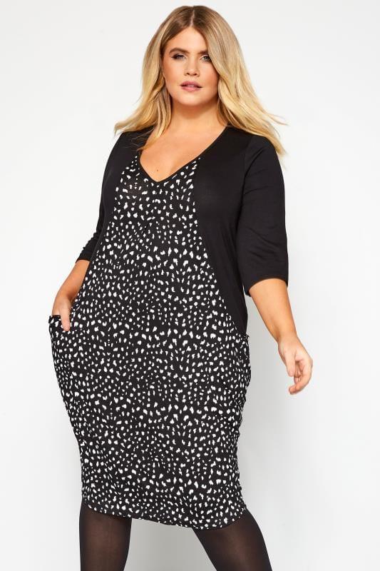 Plus Size Casual Dresses Black & White Animal Block Drape Pocket Dress