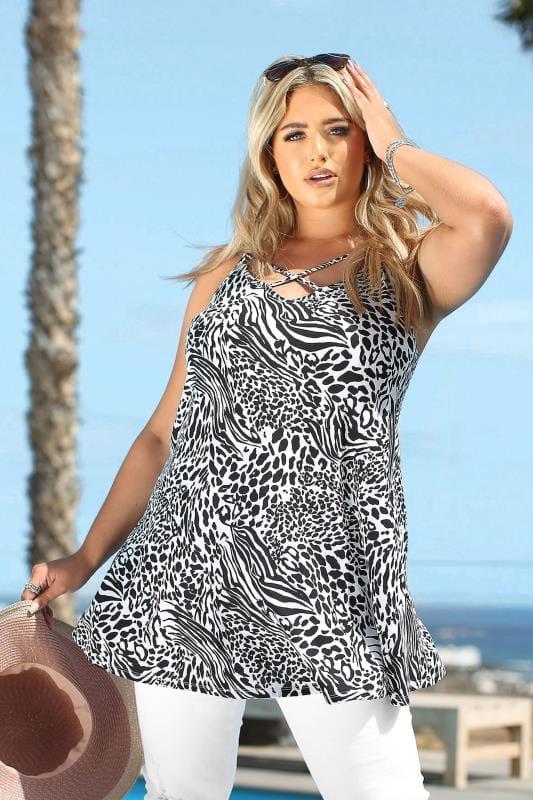 Black & White Animal Print Lattice Swing Cami Top