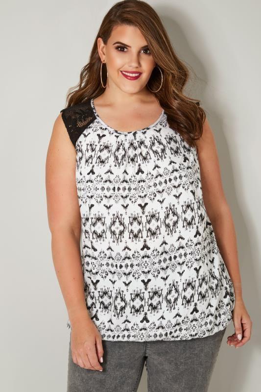 Black & White Aztec Print Sleeveless Bubble Hem Top With Lace Shoulders