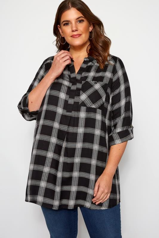 Plus Size Shirts Black, White & Bronze Metallic Check Shirt