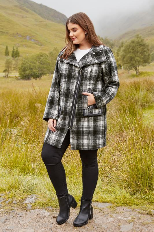 Black & White Check Asymmetric Coat