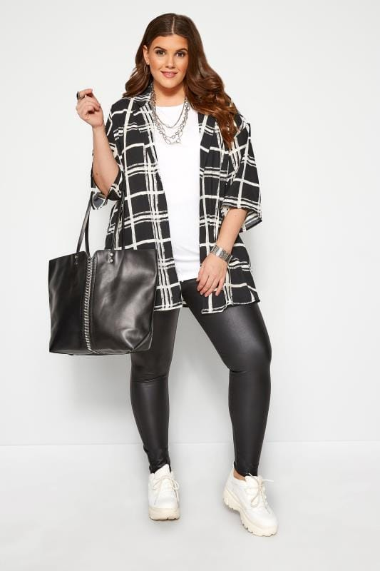 Plus Size Jackets Black & White Check Cover Up