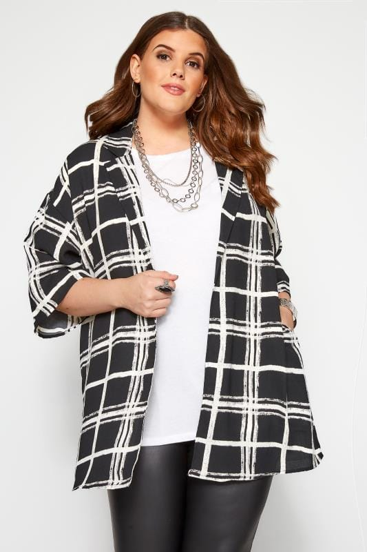 Plus Size Kimonos Black & White Check Cover Up