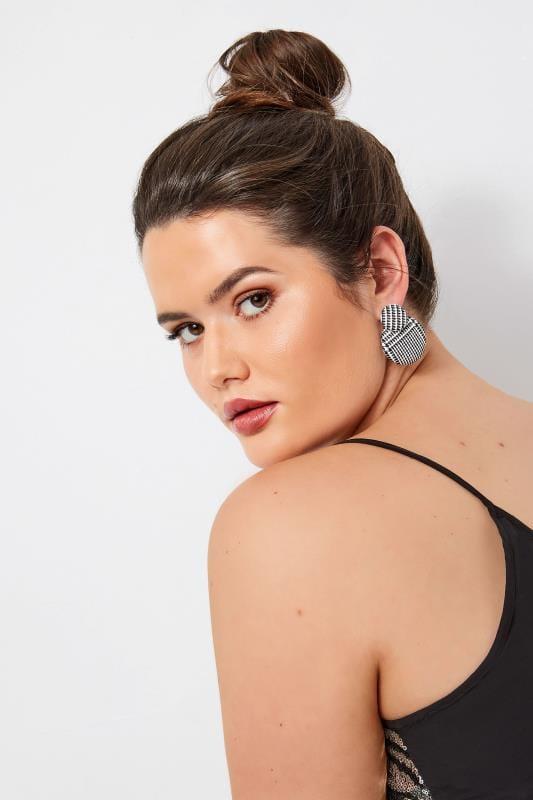Plus Size Jewellery dla puszystych Black & White Check Disc Earrings