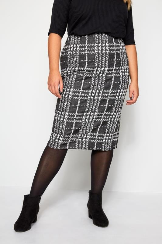 Plus Size Pencil Skirts Black & White Check Pencil Skirt
