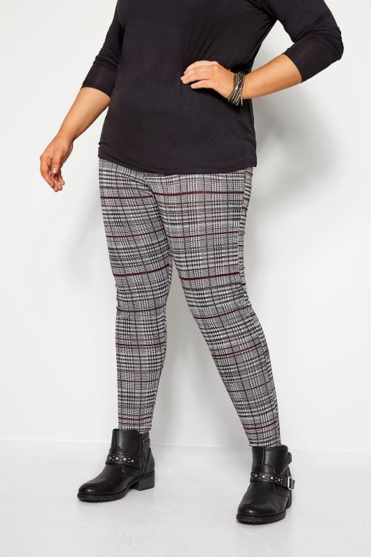 Black & White Check Slim Fit Trousers